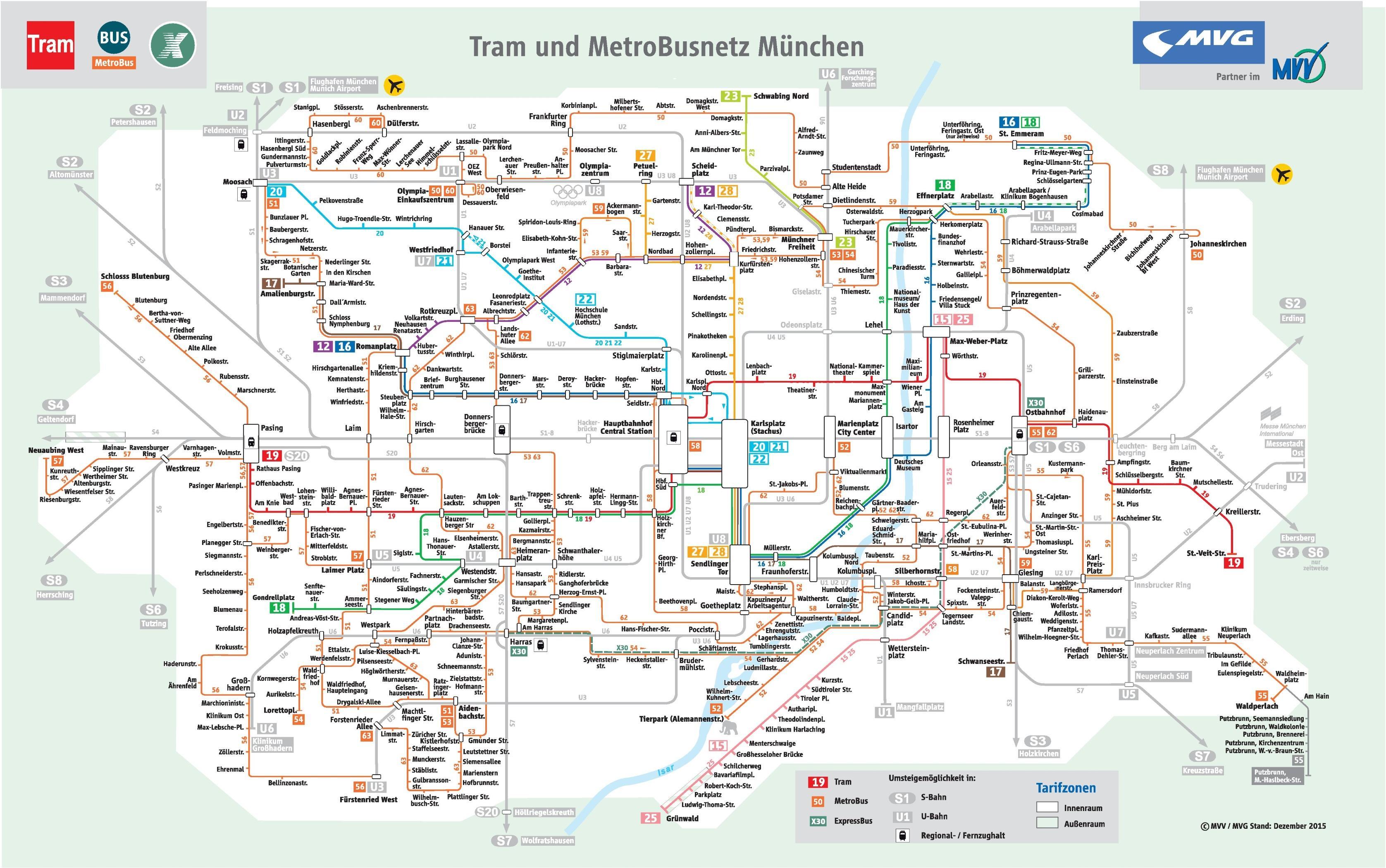 Munchen Bus Kort Kort Over Munchen Bus Bayern Tyskland