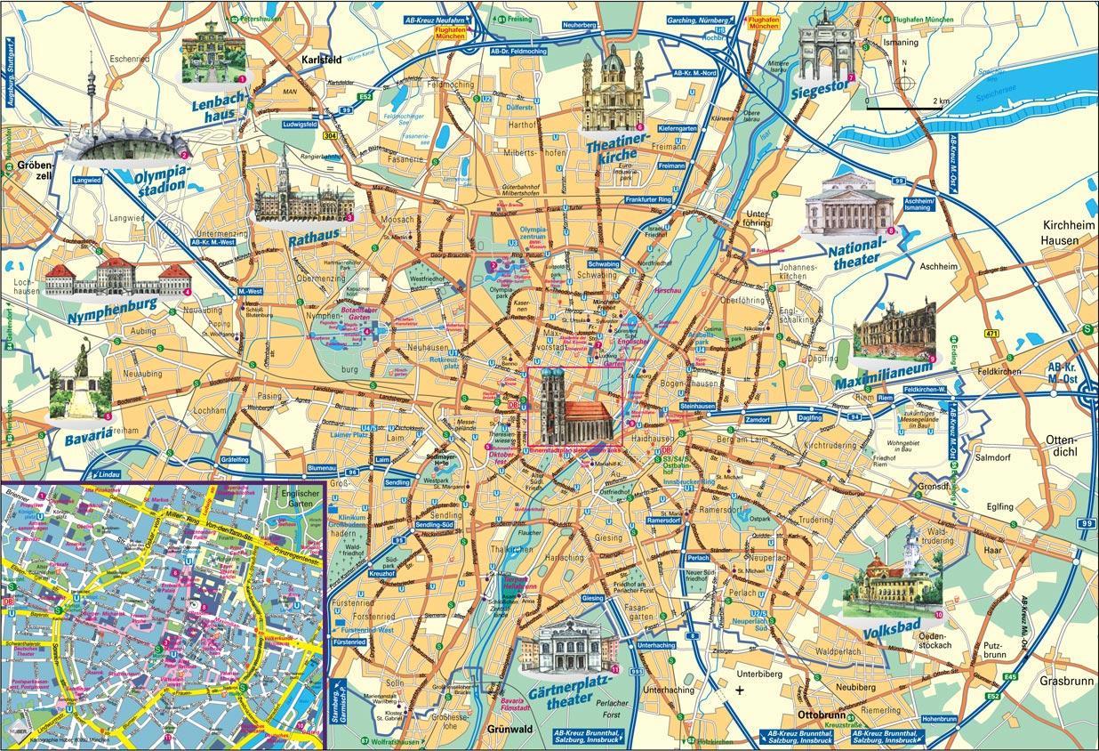 Munchen City Map Kort Over Byen Munchen Tyskland Bayern